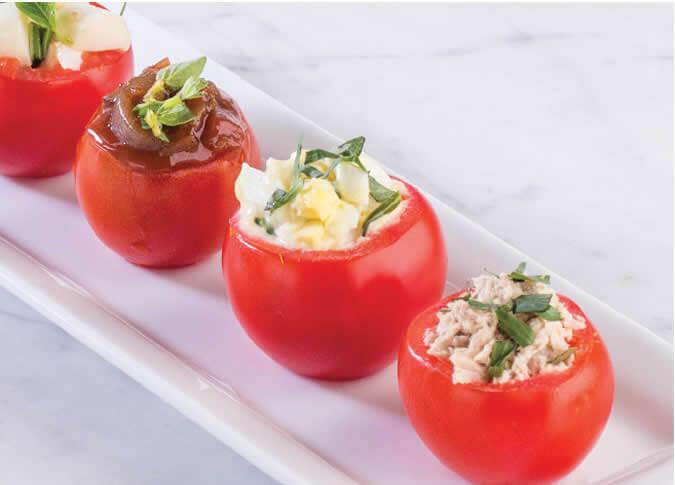Gluten-Free Caprese Stuffed Mini Tomato Appetizers