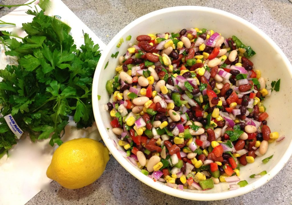 Mexican Red Bean Salad with Corn and Chickpeas