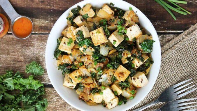 Peri-Peri Tofu with Kale and Mustard Seeds